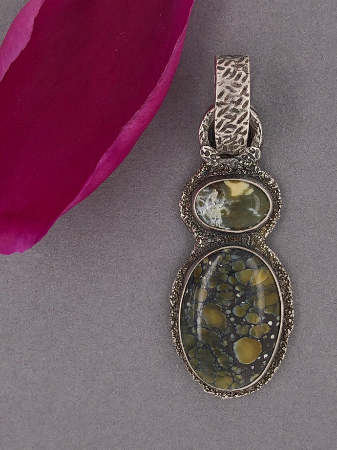 Silver with patina, olive green turquoise pendant.