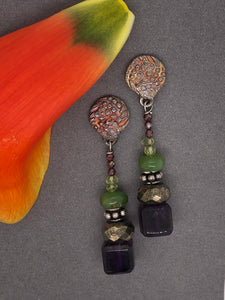 Silver with patina, amethyst, pyrite, chrysoprase, peridot and garnet post earrings.