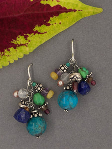 Multi color gemstone earrings, turquoise, opal, lapis, garnet, moonstone, sterling silver wires.