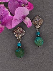 Silver with patina, turquoise, post earrings.