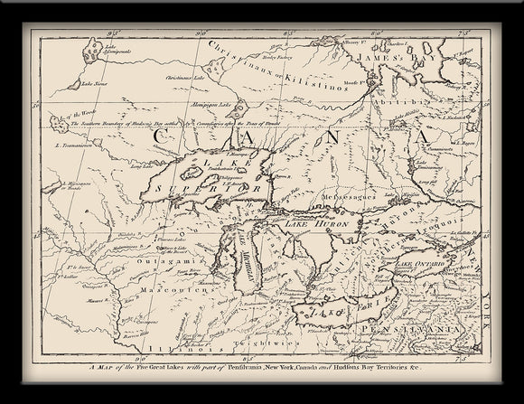 1755 Map of the Great Lakes and Surrounding Territory