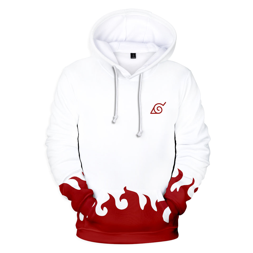 hokage minato hoodie with flame patter and hidden leaf emblem