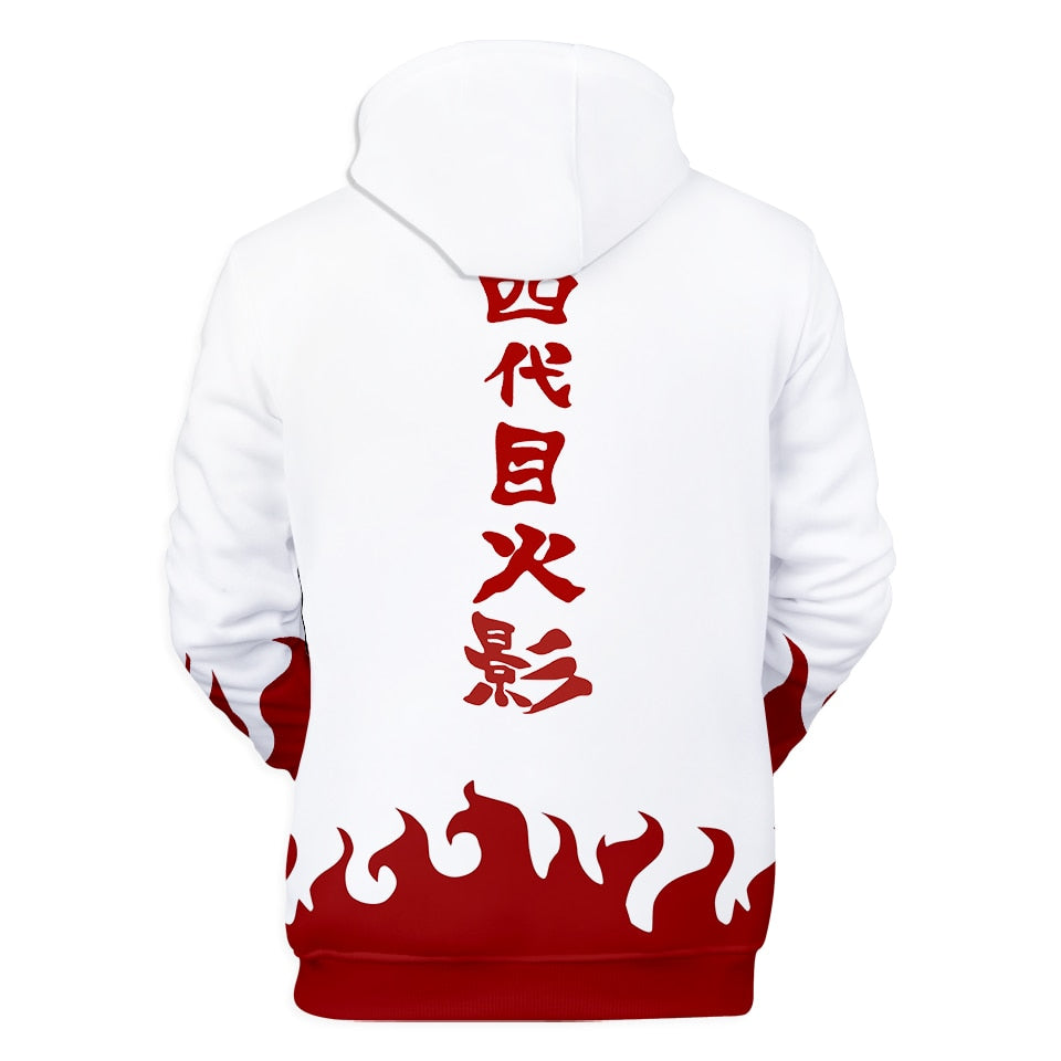 back of minato flame hoodie hidden leaf hokage sweatshirt