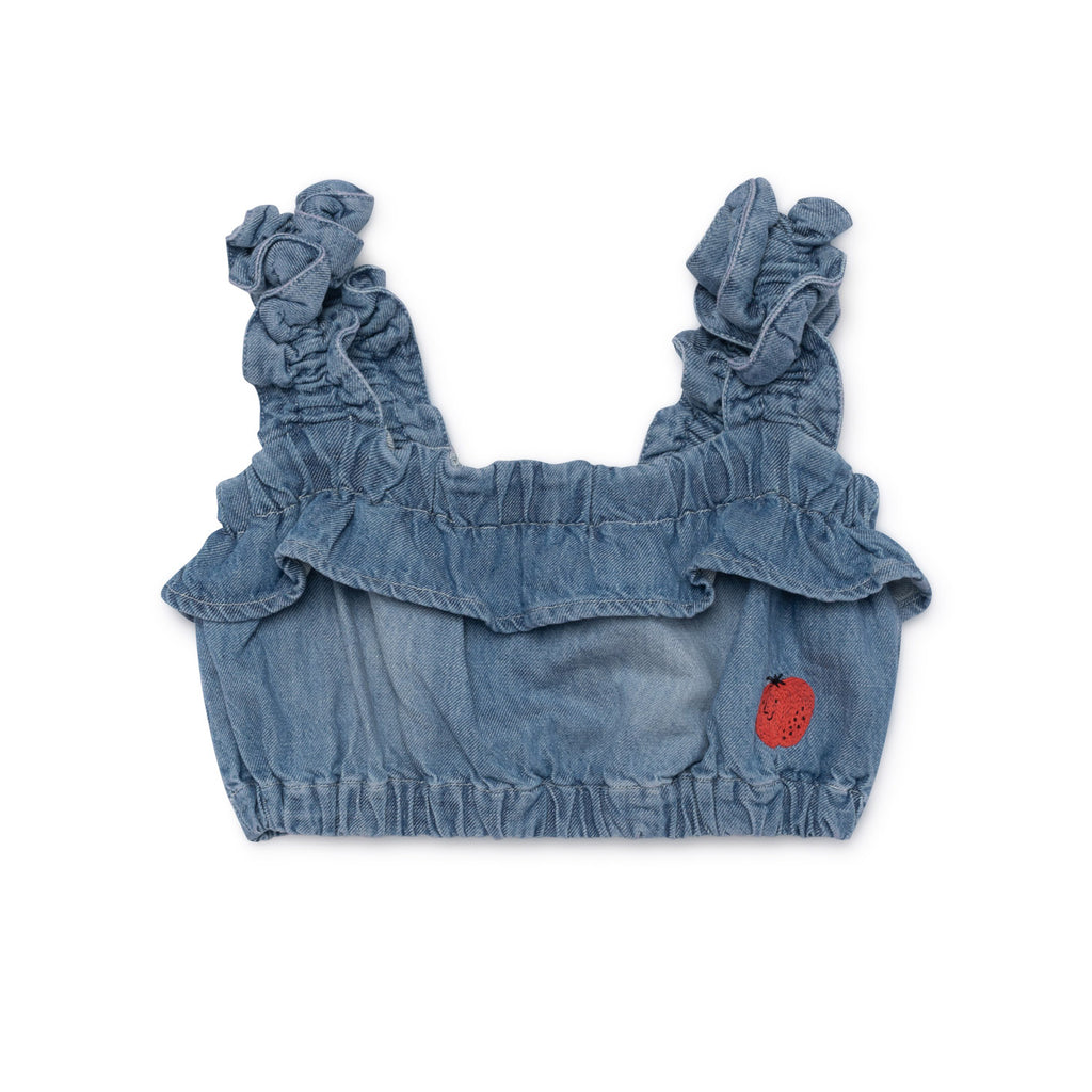 Bobo Choses Blue Denim Ruffles Top