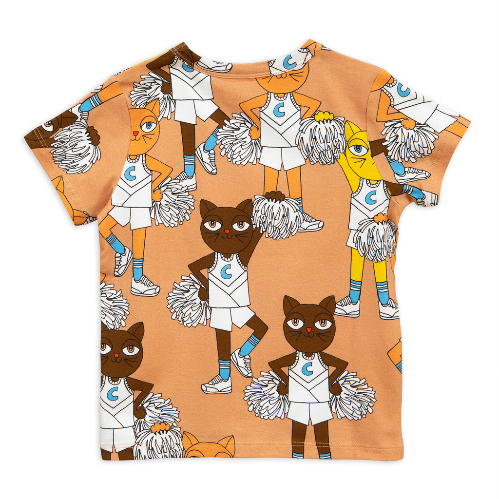 Mini Rodini Beige Cheer Cat Tee