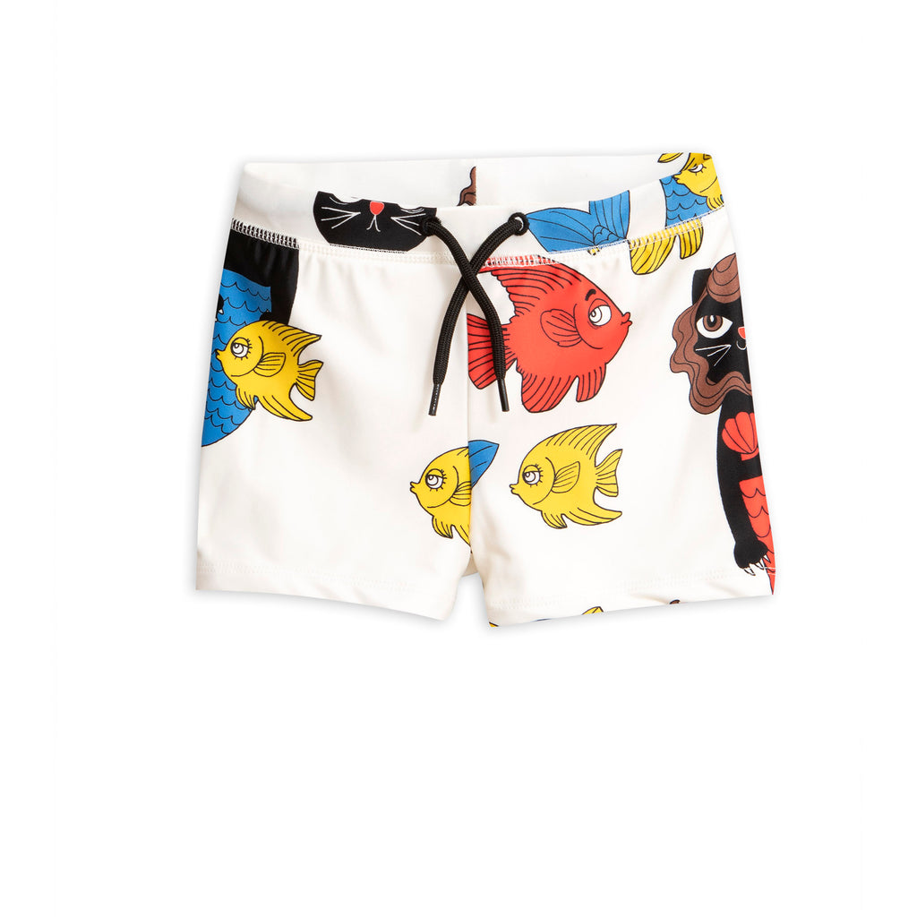 Mini Rodini Off White Cat Mermaid Swim Shorts