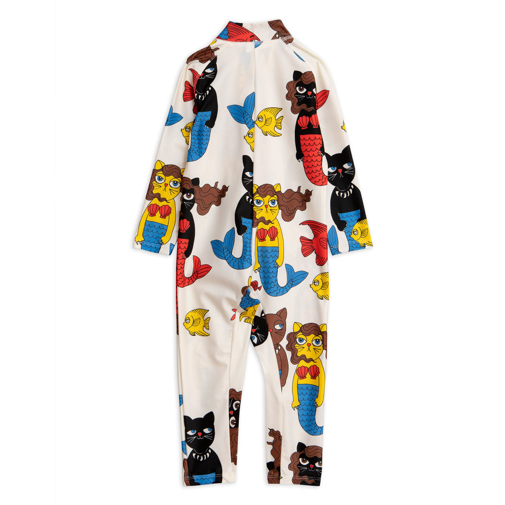 Mini Rodini Off White Cat Mermaid UV Suit