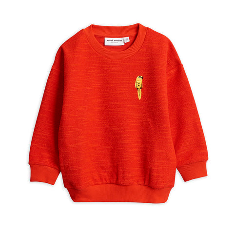 Mini Rodini Red Parrot Embroidered Sweatshirt