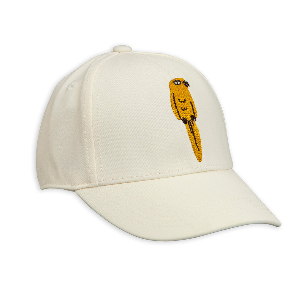 Mini Rodini Off White Embroidered Parrot Cap