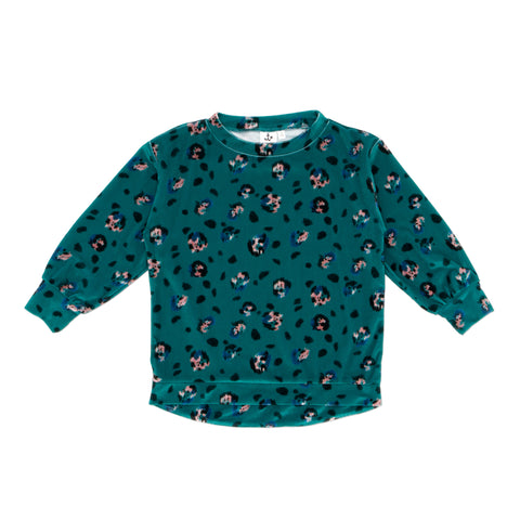 Noe And Zoe Oversized Emerald Leopard Sweat