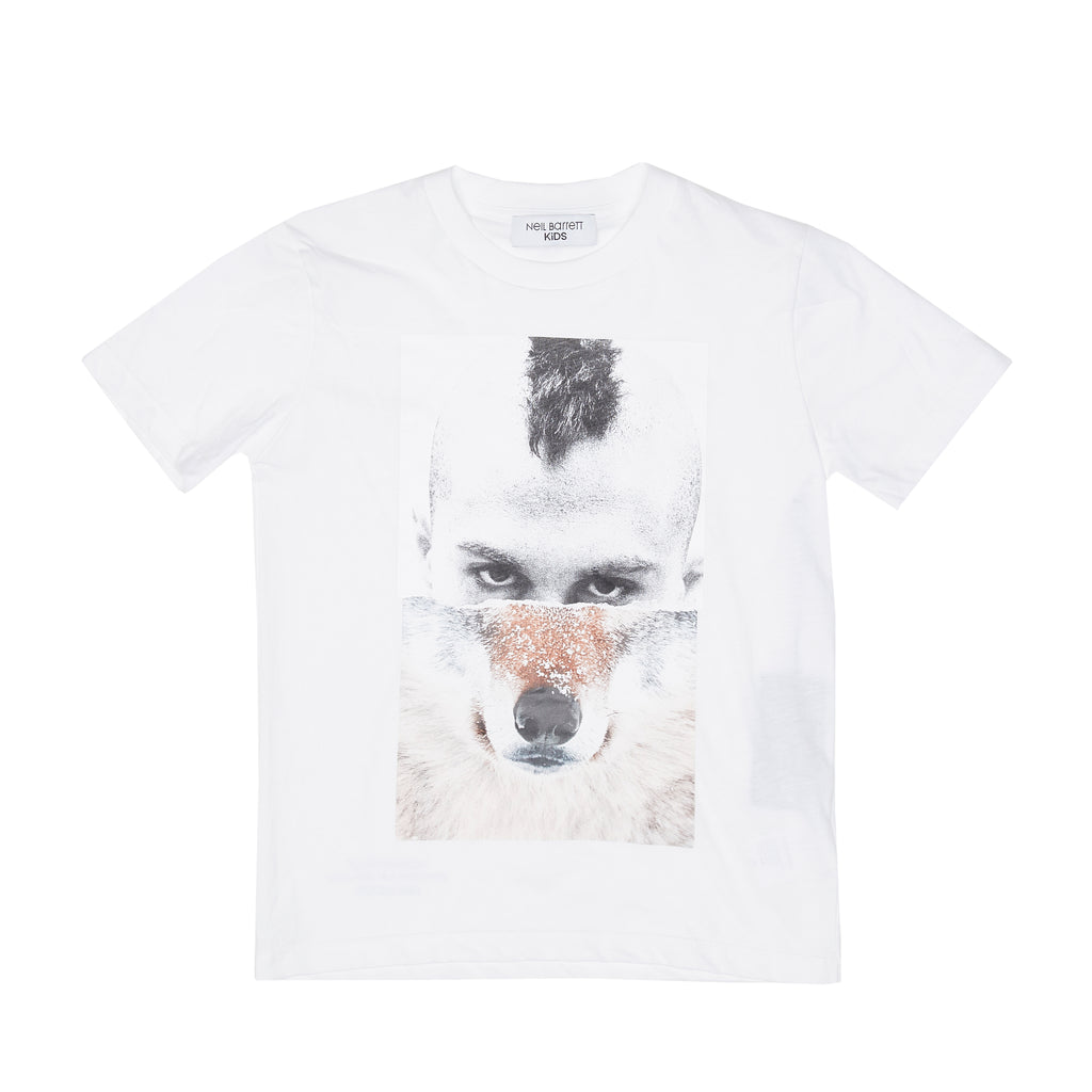 Neil Barrett White Half and Half 'Mohawk Wolf' Tee