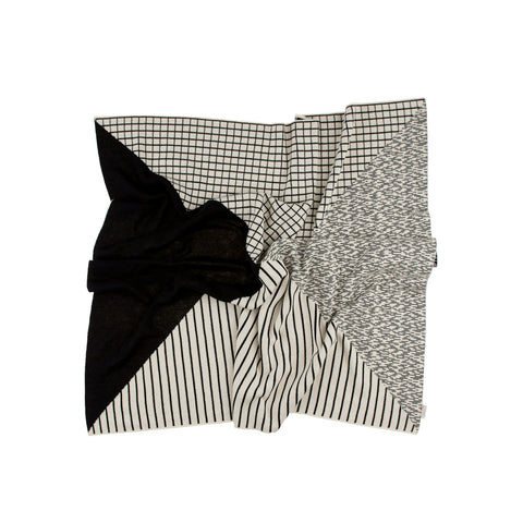 Tiny Cottons Monochrome Lines & Grid Blanket