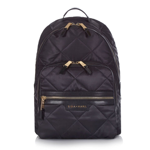 Tiba + Marl 'Elwood' Black Quilted Backpack