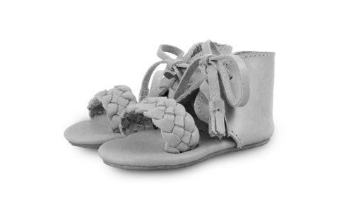 Donsje Coco Light Grey Leather Plaited Sandals