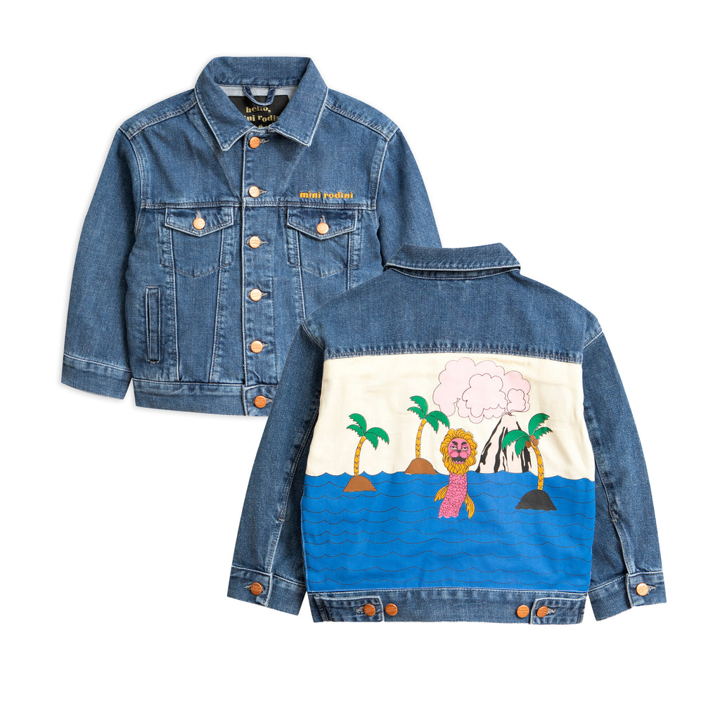 Mini Rodini Blue Seamonster Denim Jacket