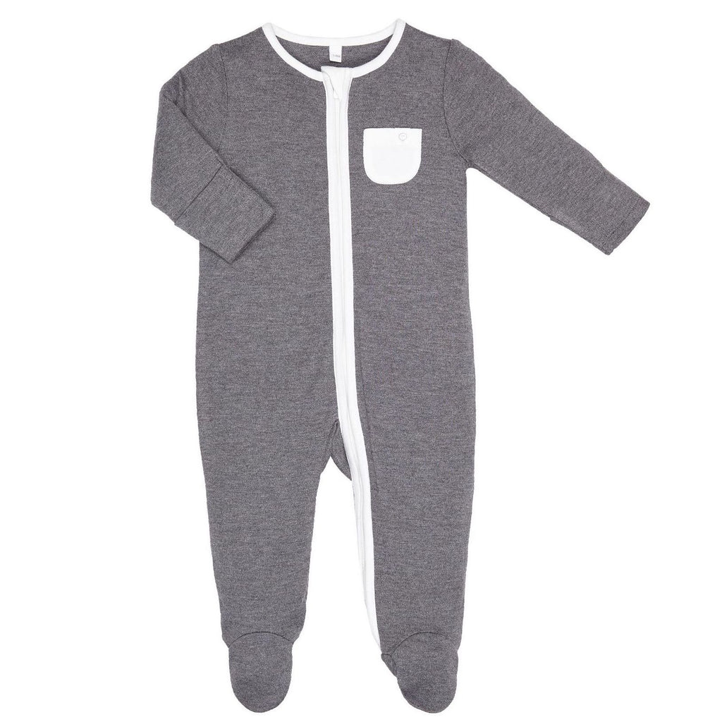 Baby Mori Dark Grey Zip-Up Sleepsuit