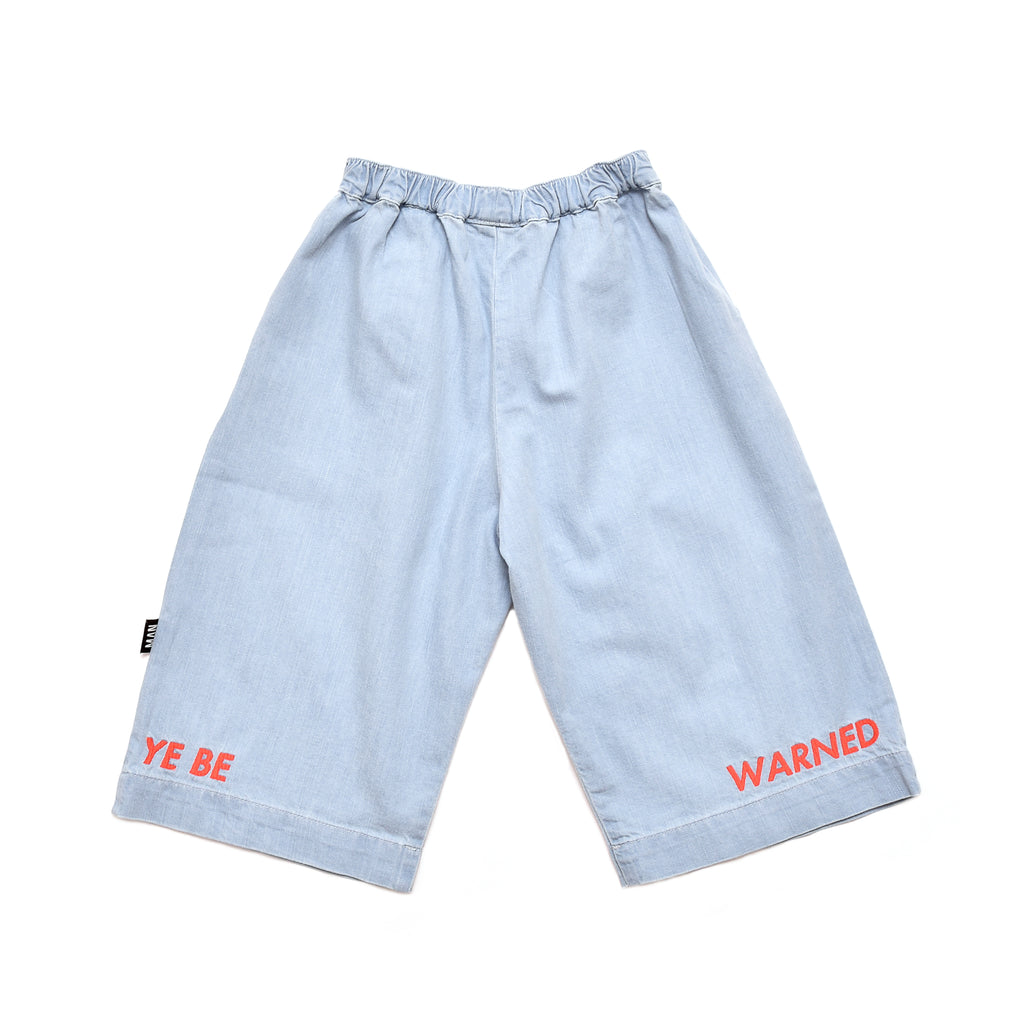 "Little Man Happy Blue ""Ye Be Warned"" Cropped Pants"