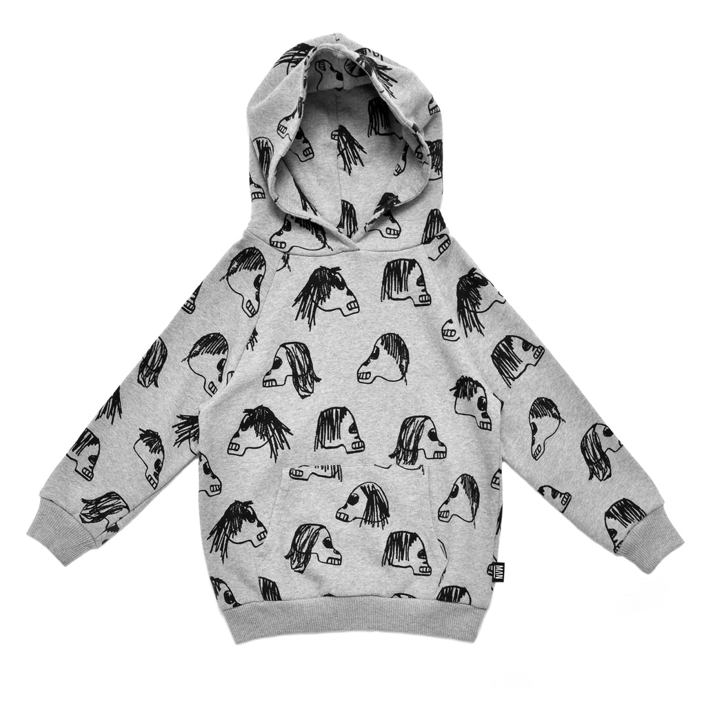Little Man Happy Grey Skulls Hoodie