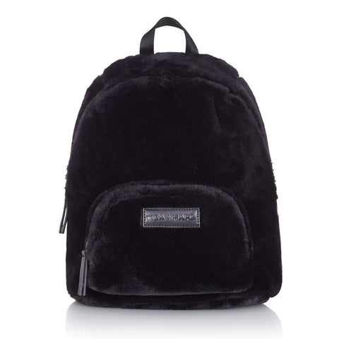 Tiba + Marl 'Mini Elwood' Black Faux Fur Bag