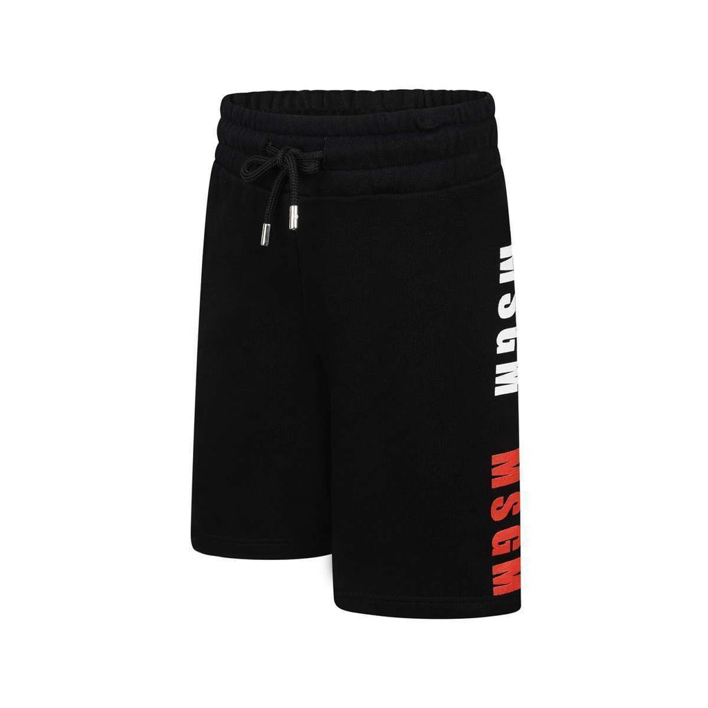 MSGM Black Triple Logo Sweat Shorts