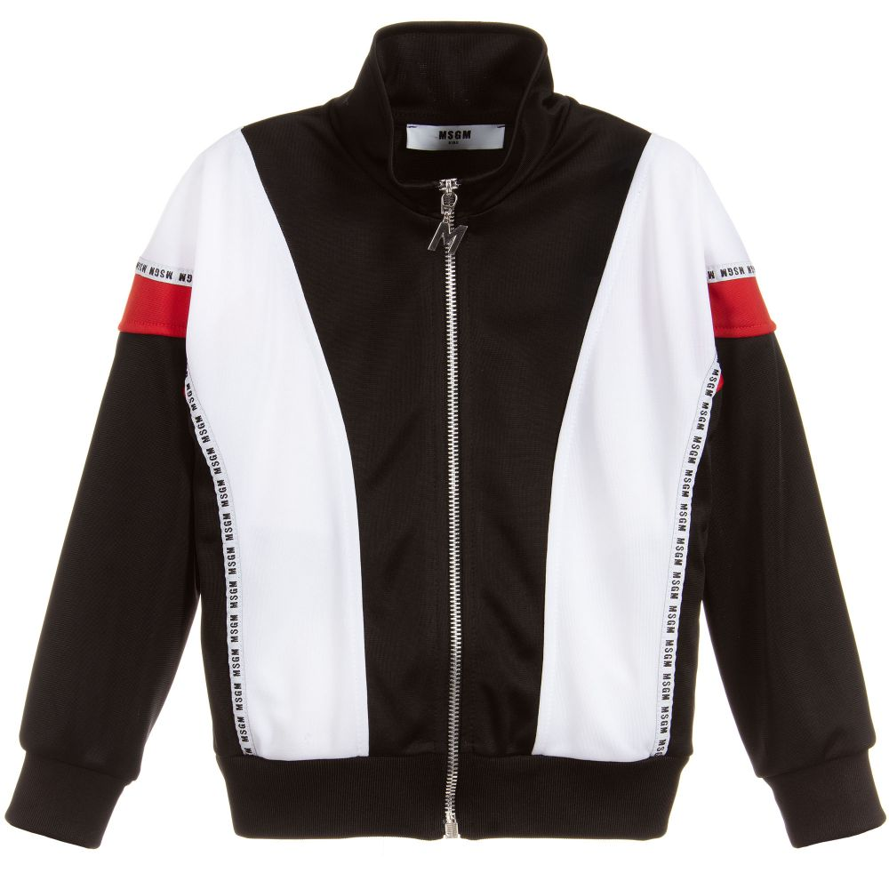 MSGM Black Colour Block Track Top