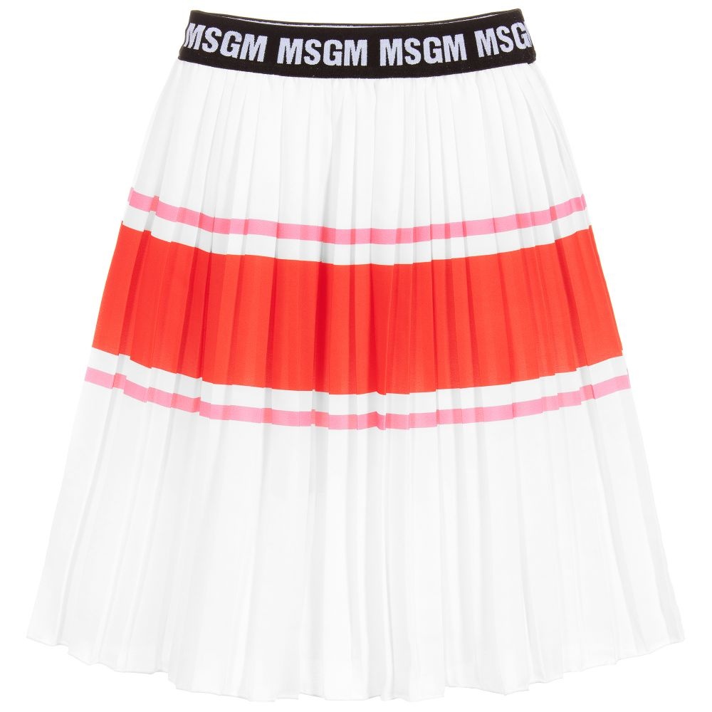 MSGM White Chiffon Pleated Midi Skirt