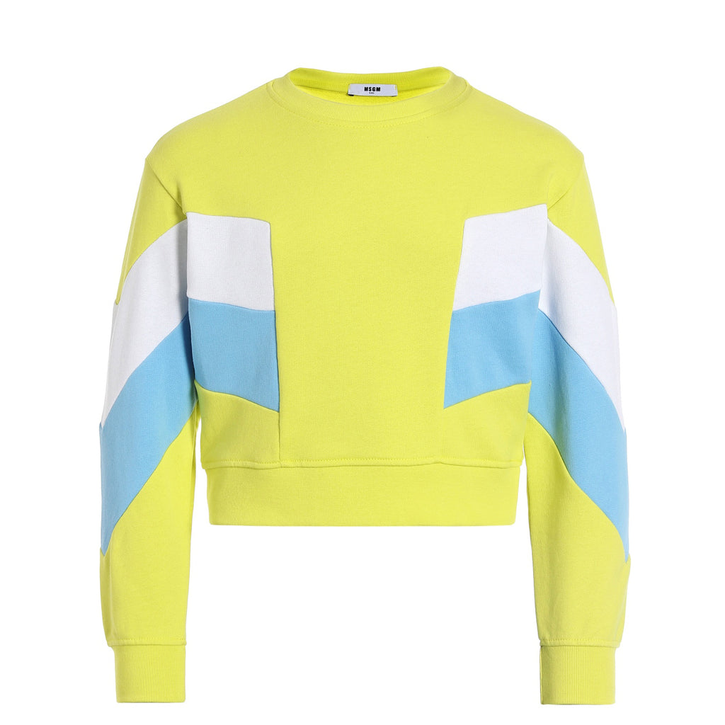MSGM Yellow Colour Block Sweat