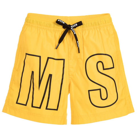MSGM Yellow Logo Swim Shorts