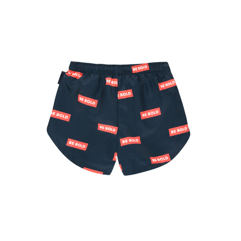 Tiny Cottons Navy 'Be Bold' Swim Trunks