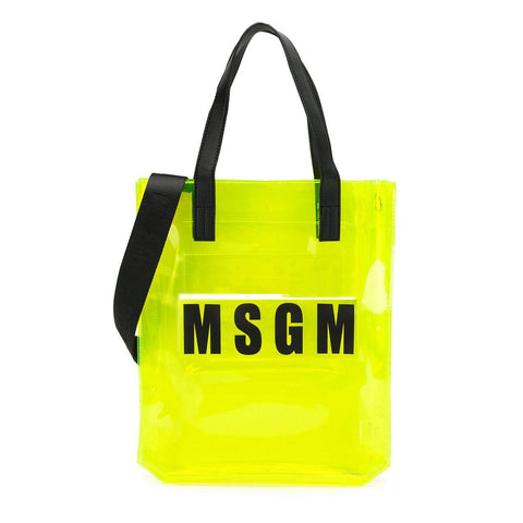 MSGM Neon Yellow Clear Logo Tote