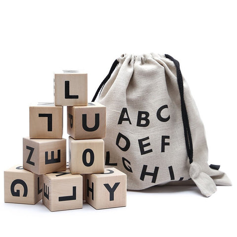 Ooh Noo Black Alphabet Wooden Blocks