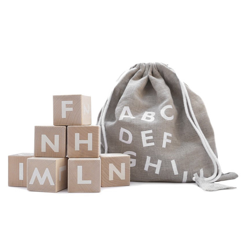 Ooh Noo White Alphabet Wooden Blocks