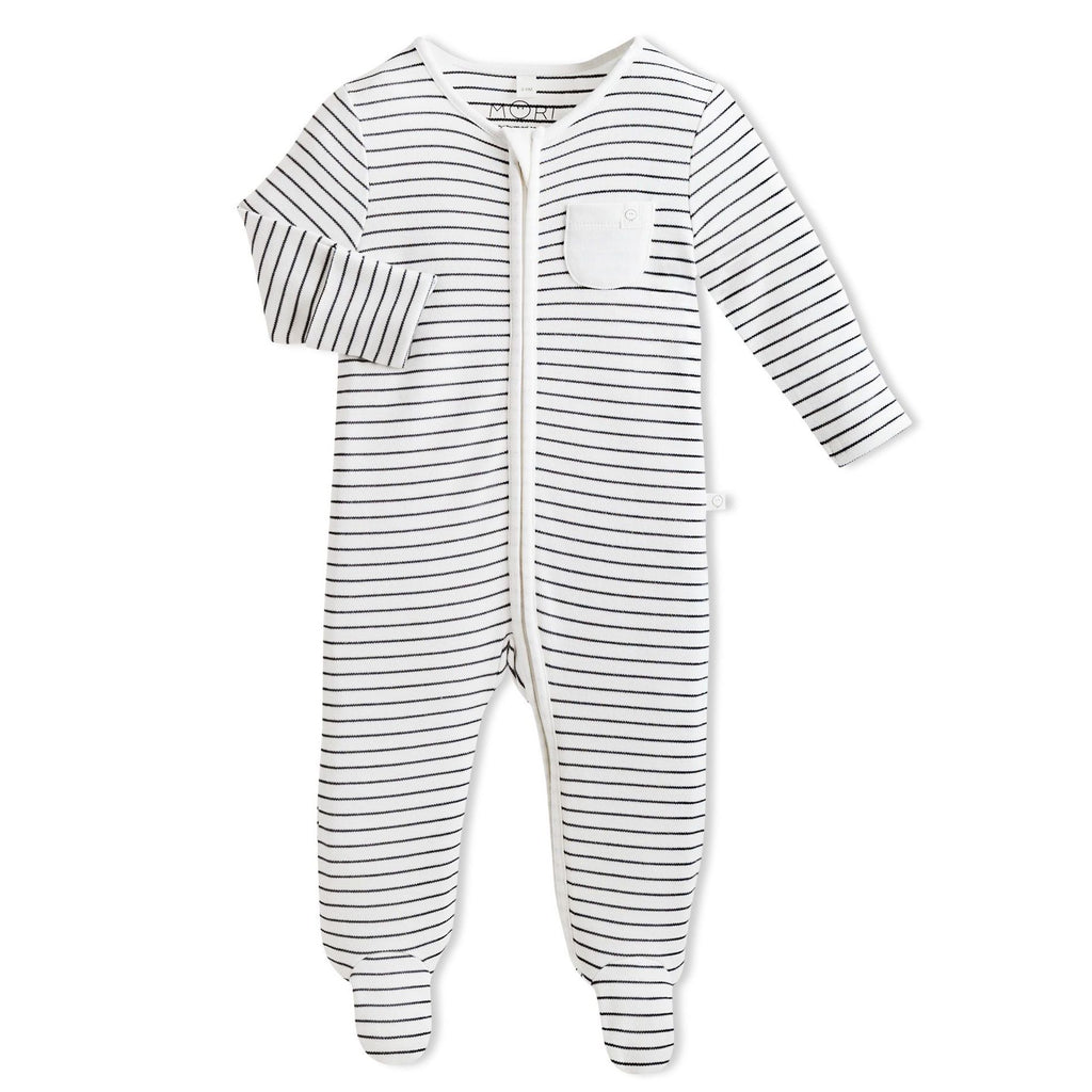 Baby Mori Grey Striped Zip-Up Sleepsuit