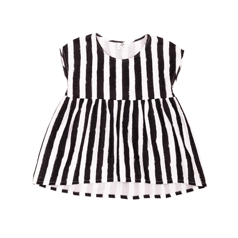 Noé & Zoë Monochrome Striped Babydoll Dress