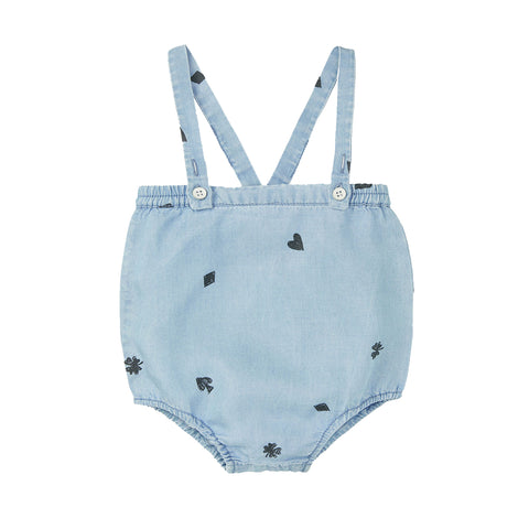 Sproet & Sprout 'Playing Cards' Chambray Braces Romper