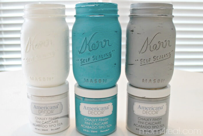 Chalky painted Jars