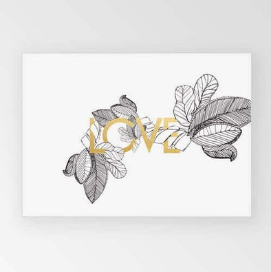 Rachel Kennedy Print - Love - Gold & Monochrome A3 - Upcycle Studio