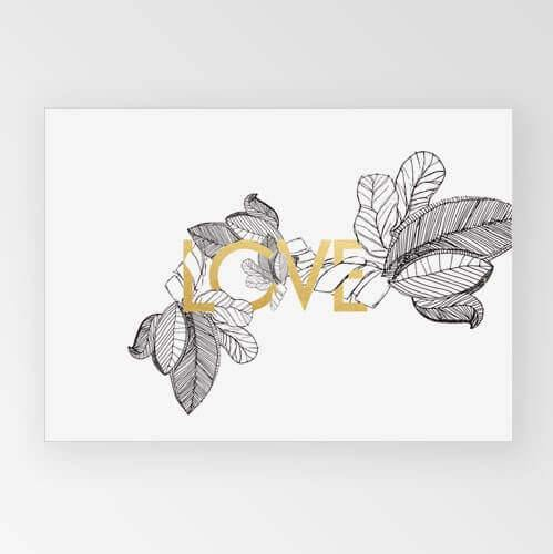 Rachel Kennedy Print - Love - Gold & Monochrome A3