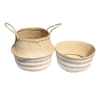Seagrass Belly Baskets - Natural & White Stripe