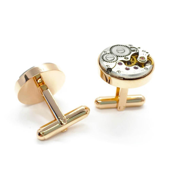 Open Mechanical Cufflinks - Rose Gold - Upcycle Studio