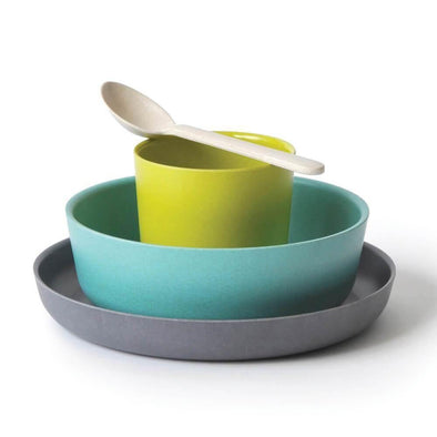 Bamboo Dinner Set 4-Piece - Cool Colours - Upcycle Studio