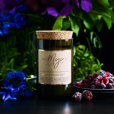 Mojo Wine Bottle Candle - Violet & Frosted Berries - Upcycle Studio