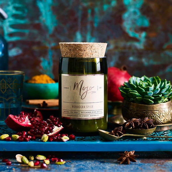 Mojo Wine Bottle Candle - Moroccan Spice - Upcycle Studio