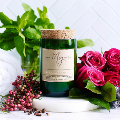 Mojo Wine Bottle Candle - Rose, Pepper & Black Mint - Upcycle Studio