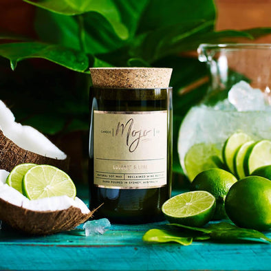 Mojo Wine Bottle Candle - Coconut & Lime - Upcycle Studio