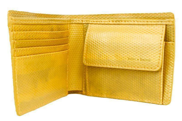 Elvis & Kresse Fire Hose Wallet with Coin Pocket- Yellow - Upcycle Studio