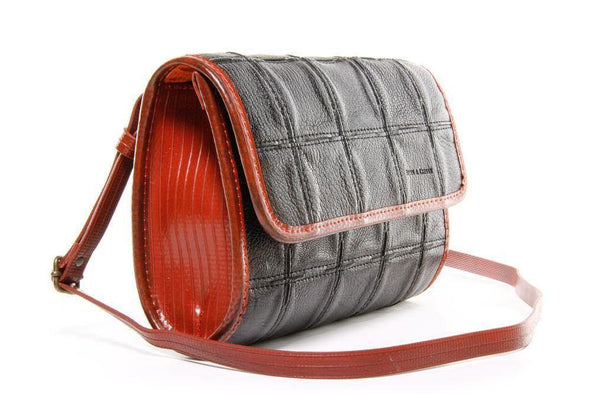 Elvis & Kresse Fire & Hide Crossbody Handbag-Black Red - Upcycle Studio