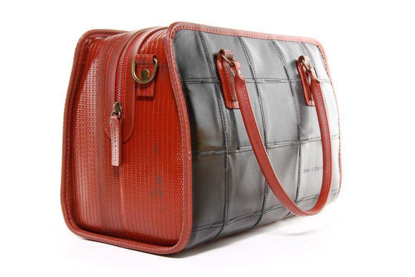 Elvis & Kresse Fire & Hide Large Post Handbag-Black & Red - Upcycle Studio