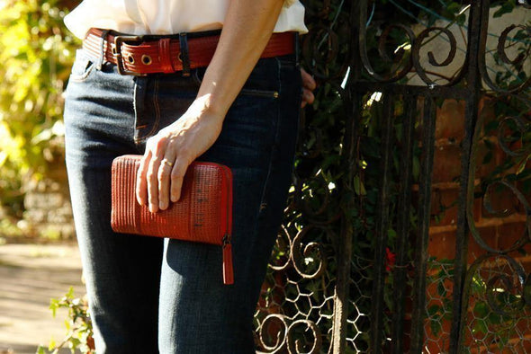 Elvis & Kresse Red Firehose Zip Clutch - Upcycle Studio