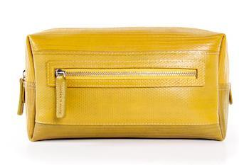 Elvis & Kresse Firehose Large Wash Bag - Mustard - Upcycle Studio